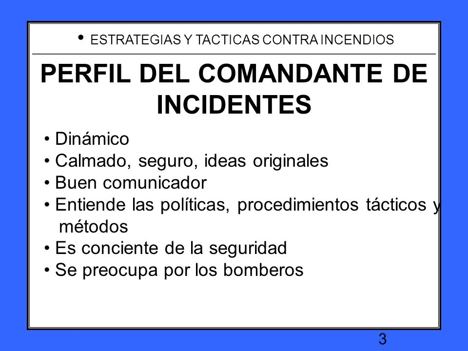 INCIDENT COMMANDER PROFILE