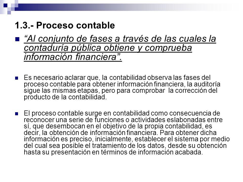 1.3.- Proceso contable Al conjunto de fases a través de las cuales la contaduría pública obtiene y comprueba información financiera .