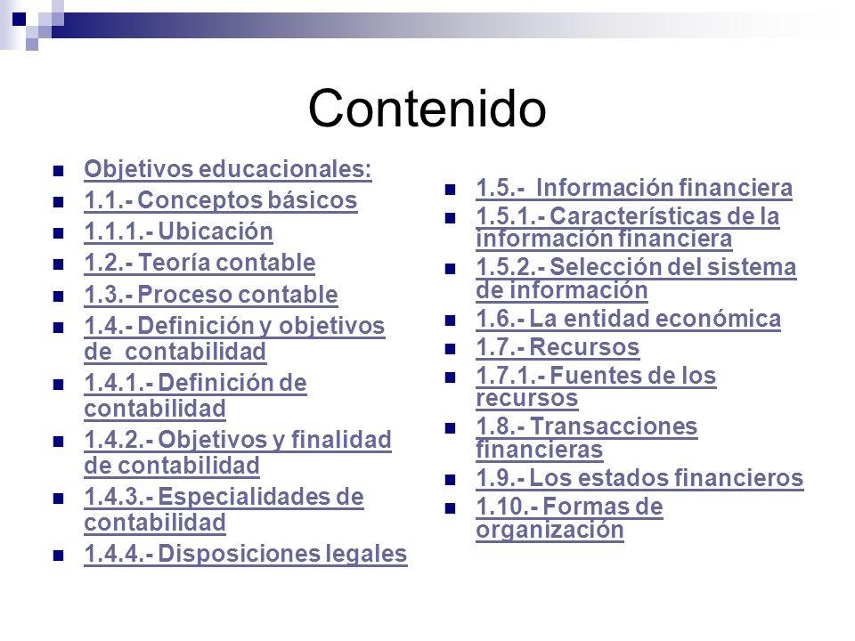 Contenido Objetivos educacionales: 1.5.- Información financiera