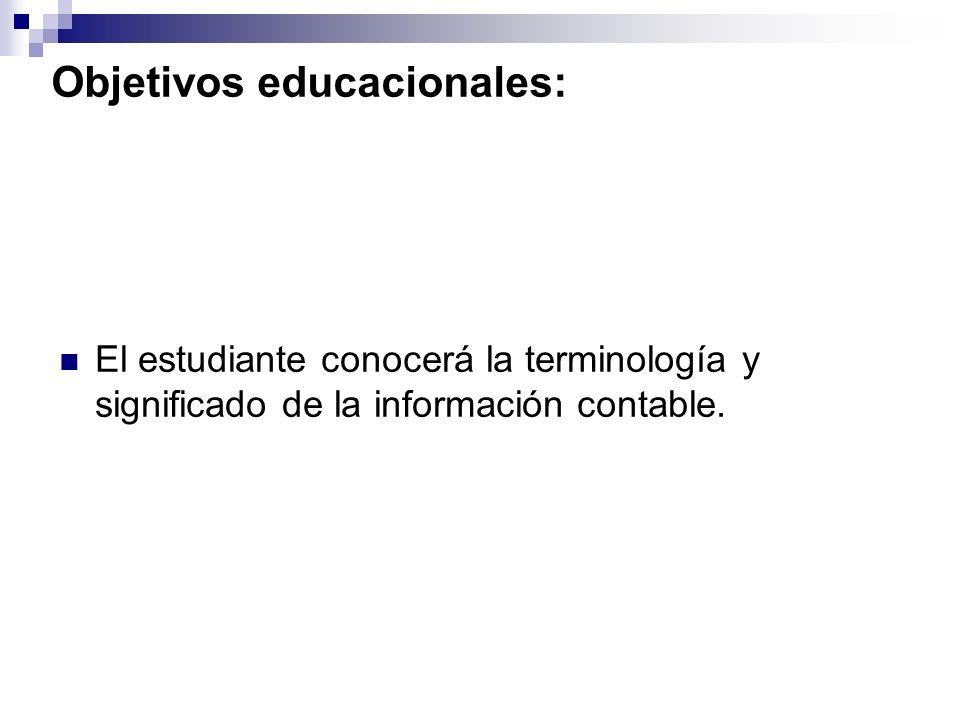 Objetivos educacionales:
