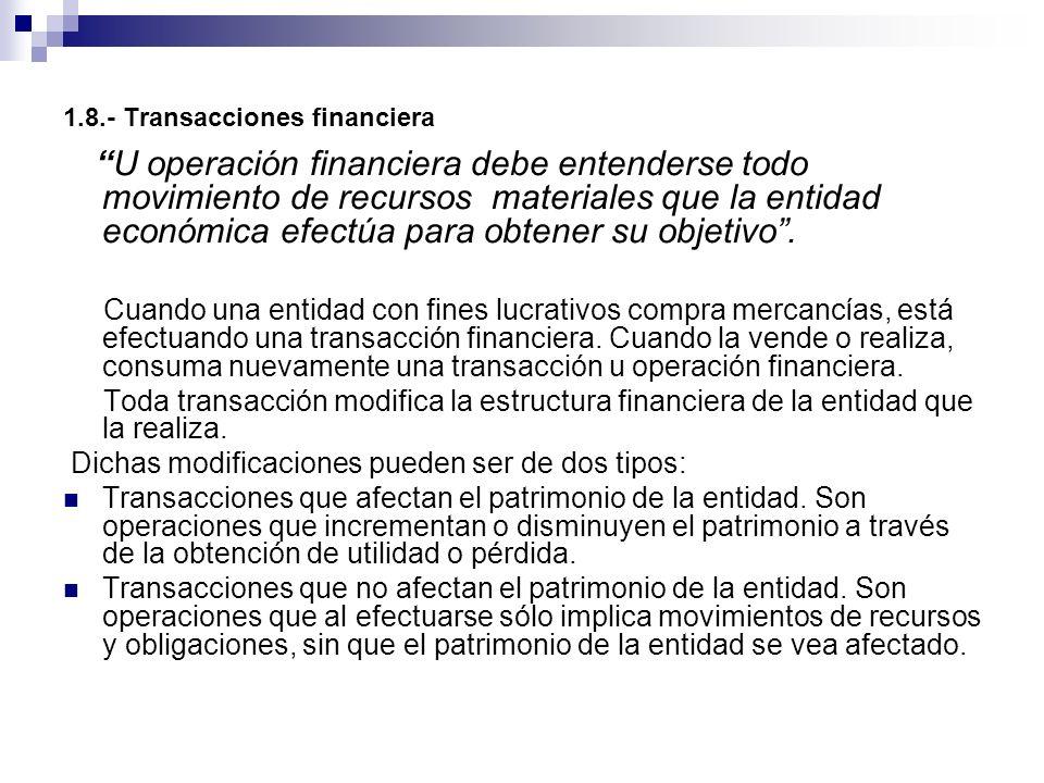 1.8.- Transacciones financiera