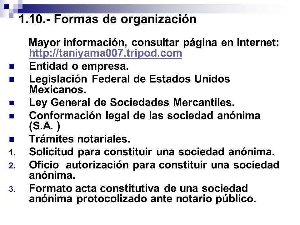 1.10.- Formas de organización