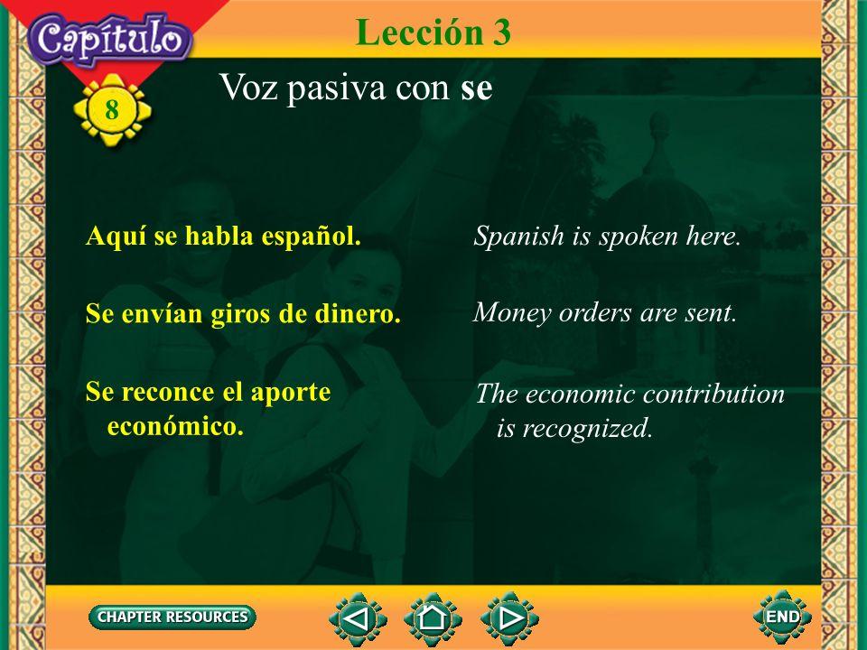 Lección 3 Voz pasiva con se Aquí se habla español.