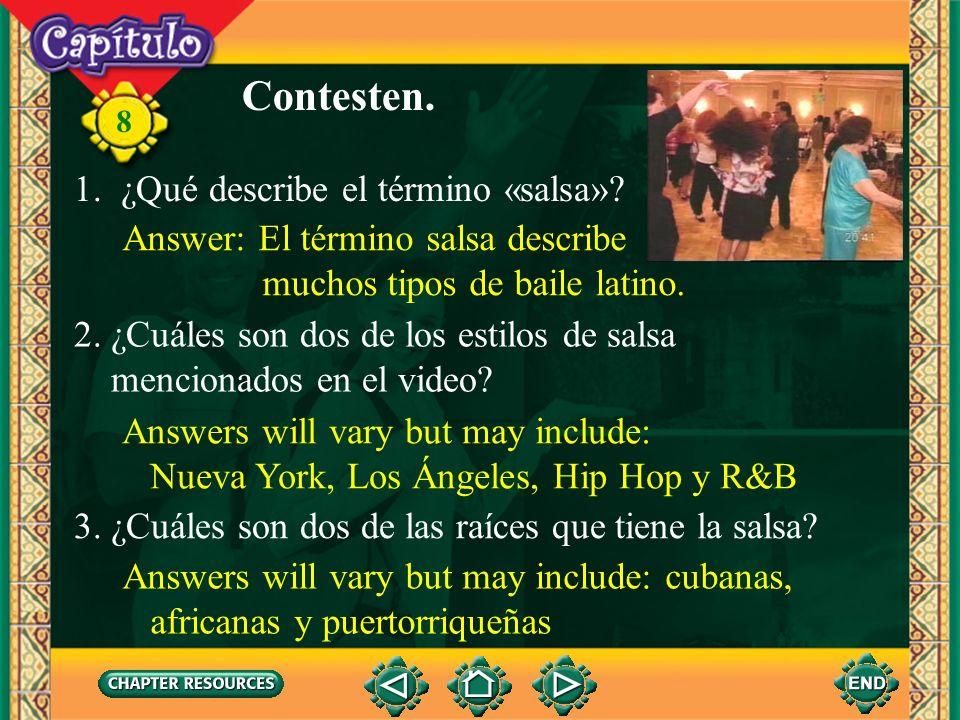 Contesten. 1. ¿Qué describe el término «salsa»