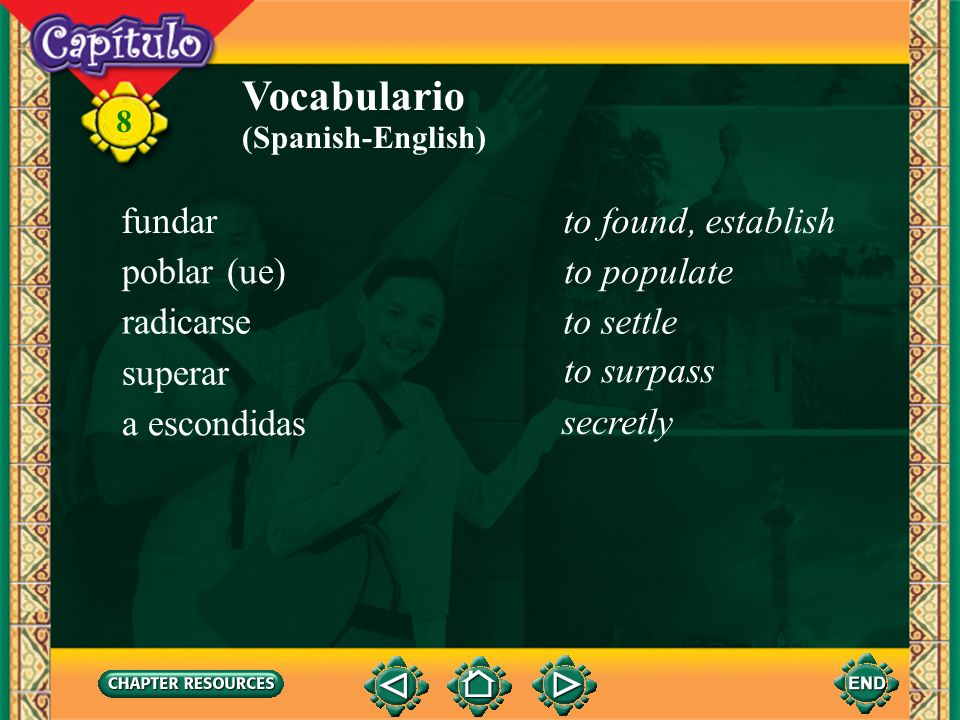 Vocabulario fundar to found, establish poblar (ue) to populate