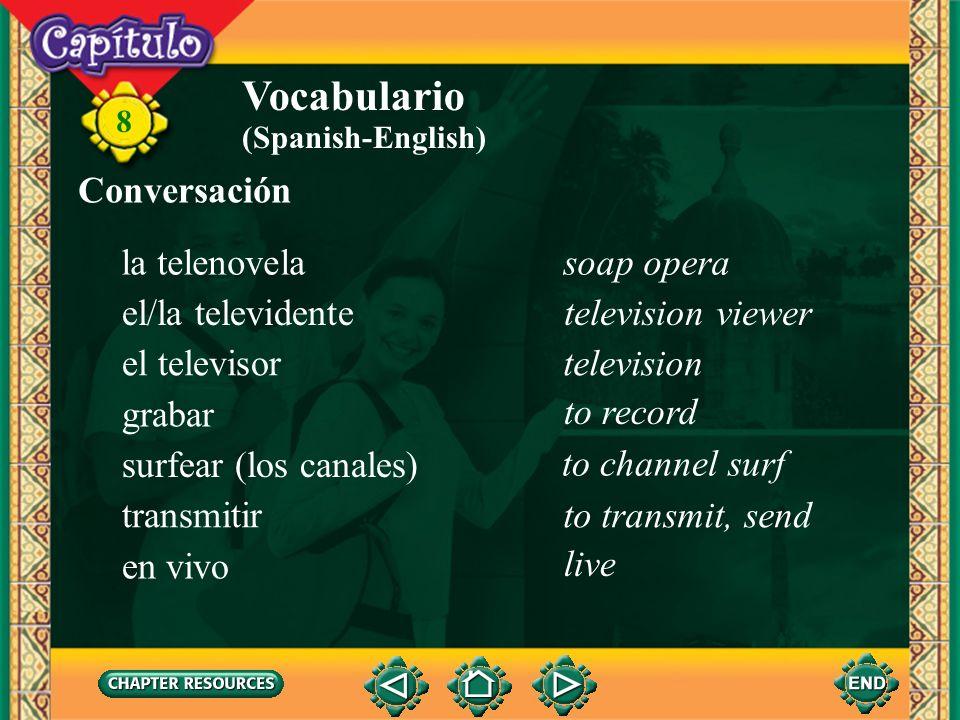 Vocabulario Conversación la telenovela soap opera el/la televidente