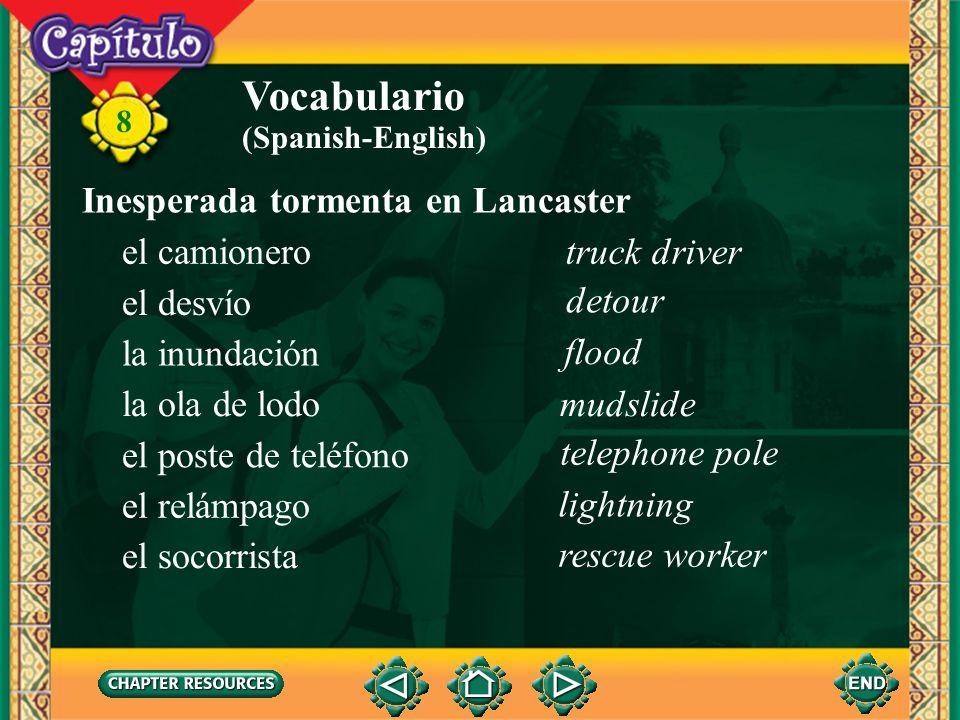 Vocabulario Inesperada tormenta en Lancaster el camionero truck driver