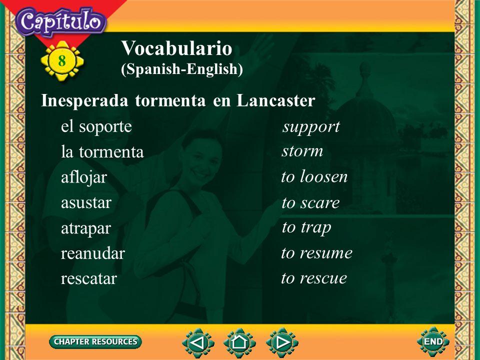 Vocabulario Inesperada tormenta en Lancaster el soporte support