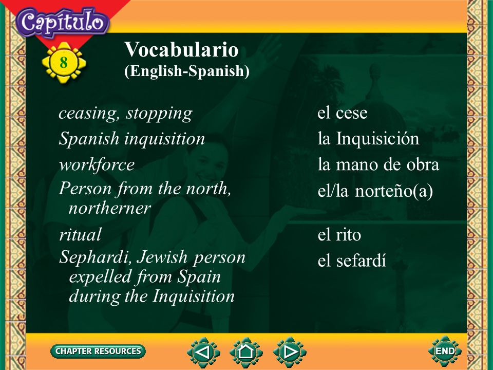Vocabulario ceasing, stopping el cese Spanish inquisition