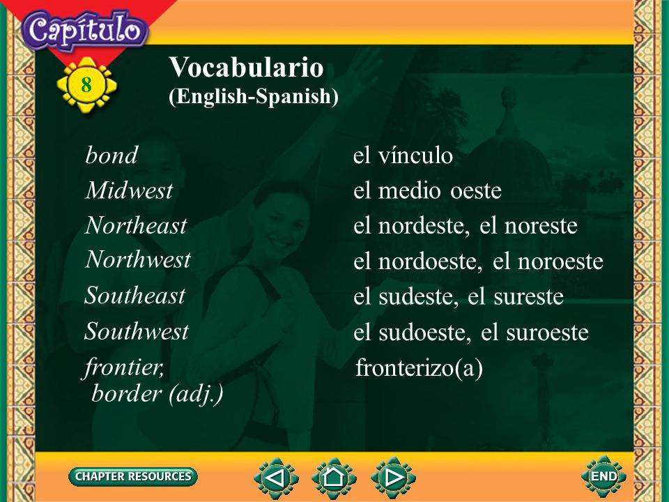 Vocabulario bond el vínculo Midwest el medio oeste Northeast
