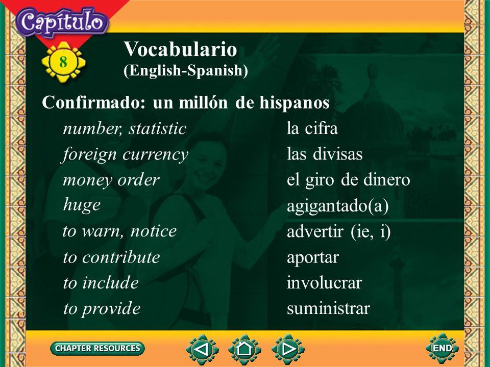 Vocabulario Confirmado: un millón de hispanos number, statistic