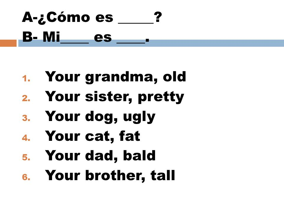 A-¿Cómo es _____ B- Mi____ es ____. Your grandma, old. Your sister, pretty. Your dog, ugly. Your cat, fat.