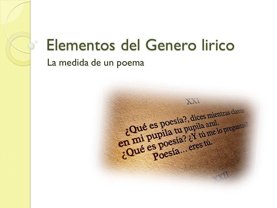 Elementos del Genero lirico