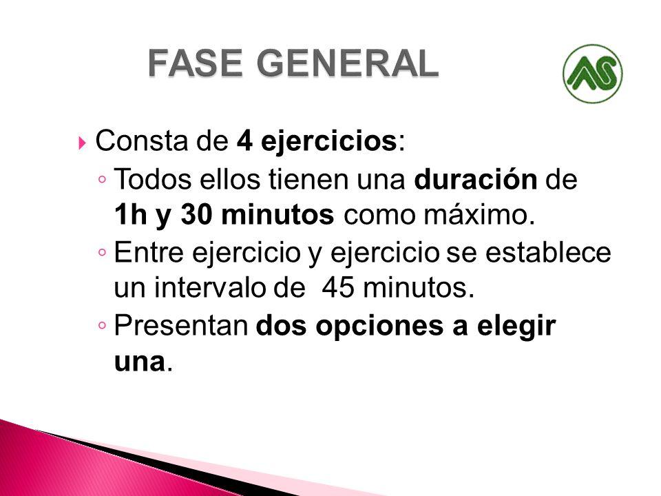 FASE GENERAL Consta de 4 ejercicios: