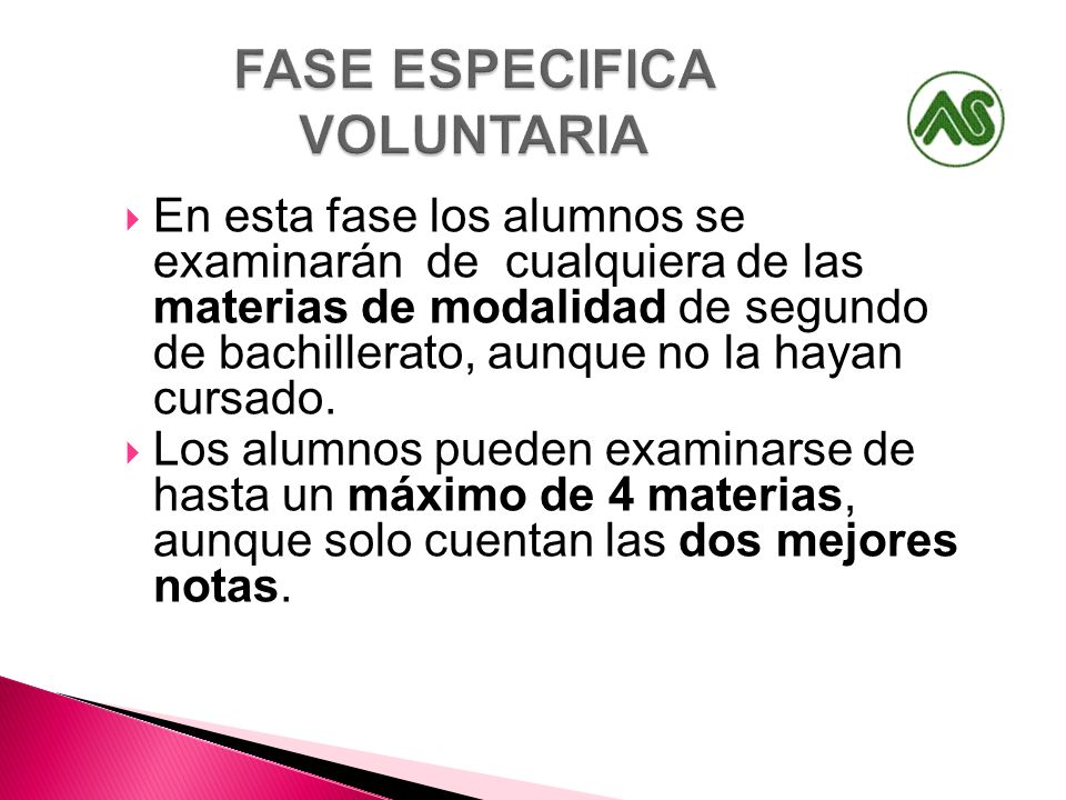 FASE ESPECIFICA VOLUNTARIA