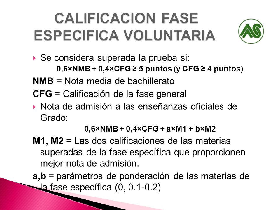 CALIFICACION FASE ESPECIFICA VOLUNTARIA