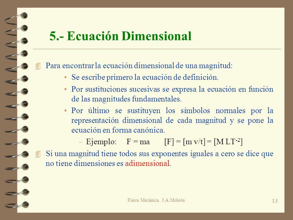 5.- Ecuación Dimensional