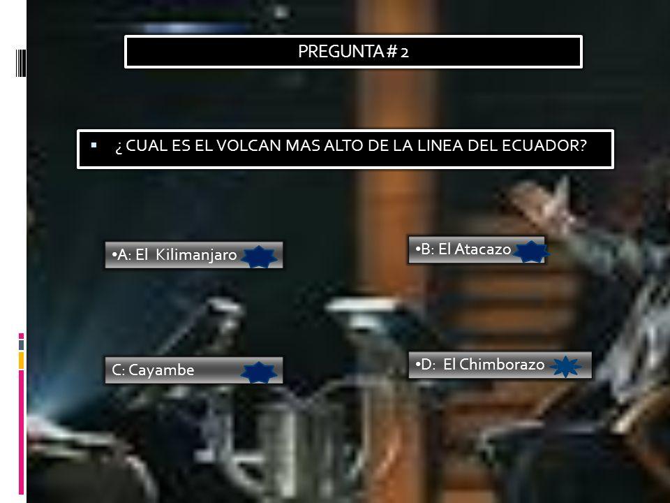 PREGUNTA # 2 ¿ CUAL ES EL VOLCAN MAS ALTO DE LA LINEA DEL ECUADOR