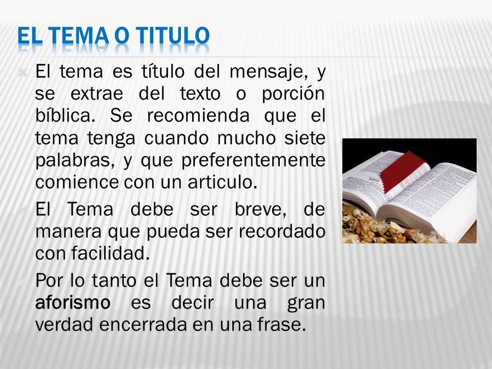 EL TEMA O TITULO