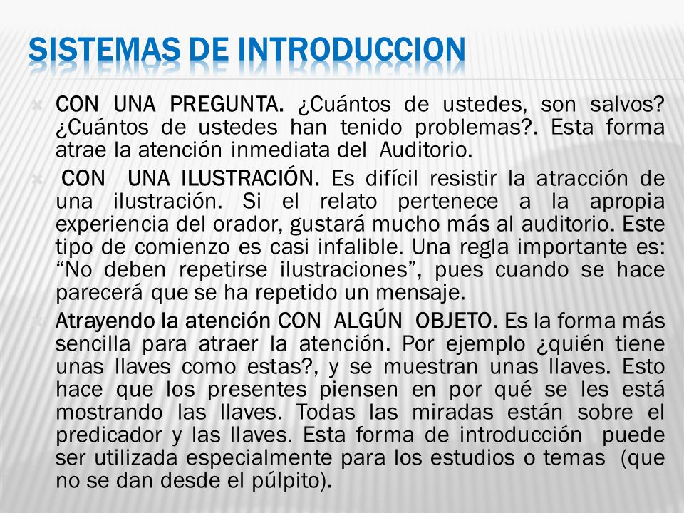 SISTEMAS DE INTRODUCCION