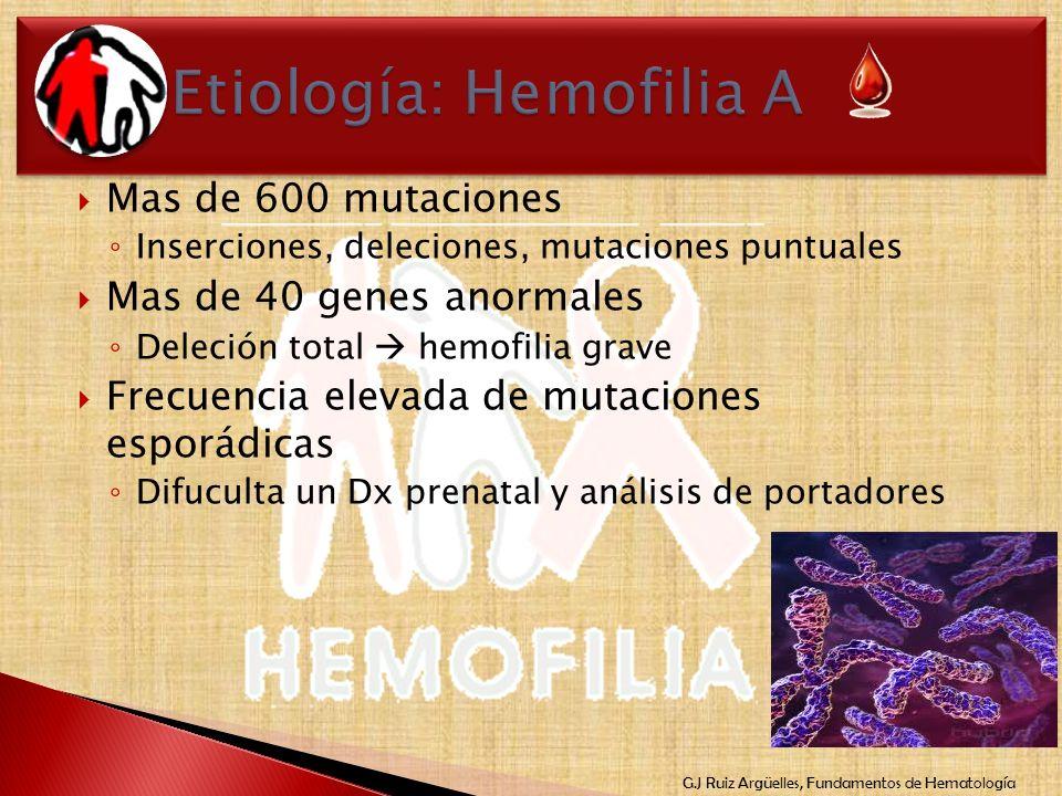 Etiología: Hemofilia A