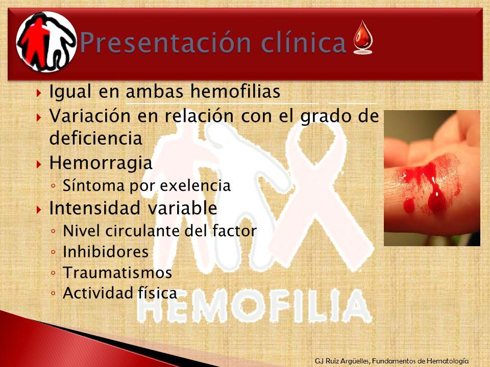 Presentación clínica Igual en ambas hemofilias
