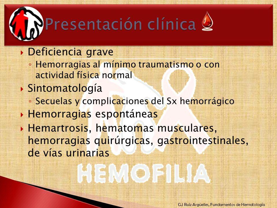 Presentación clínica Deficiencia grave Sintomatología