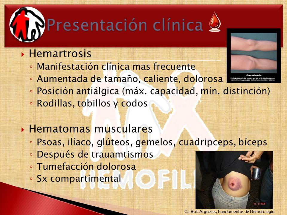 Presentación clínica Hemartrosis Hematomas musculares