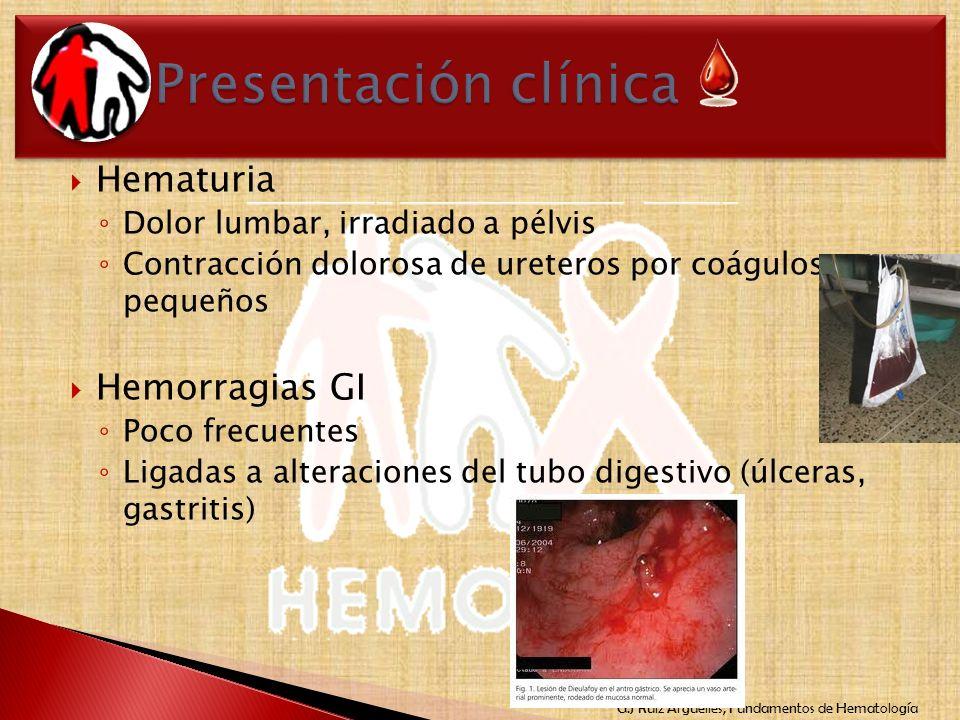Presentación clínica Hematuria Hemorragias GI