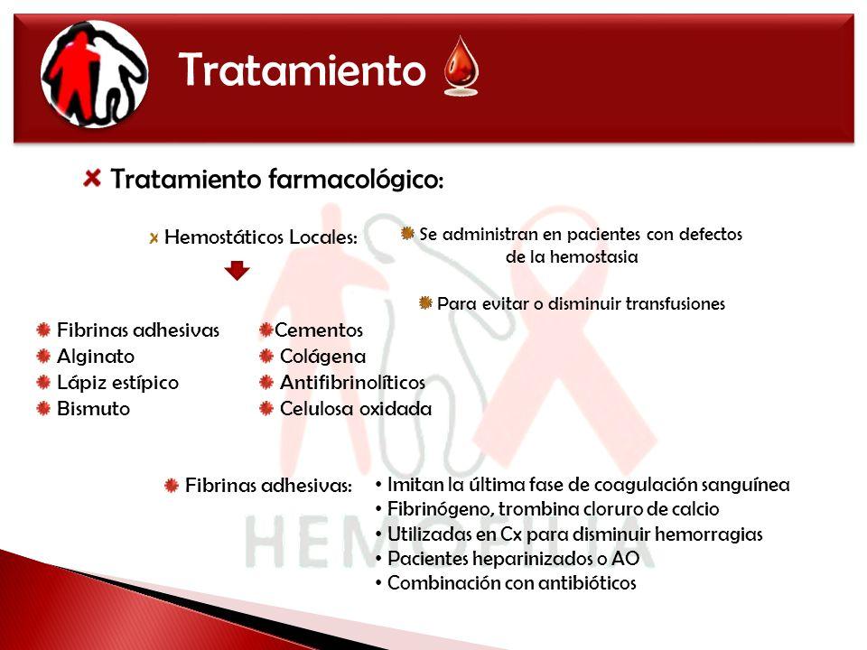 Tratamiento Tratamiento farmacológico: Fibrinas adhesivas Alginato
