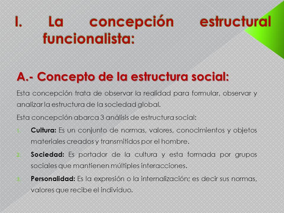I. La concepción estructural funcionalista: