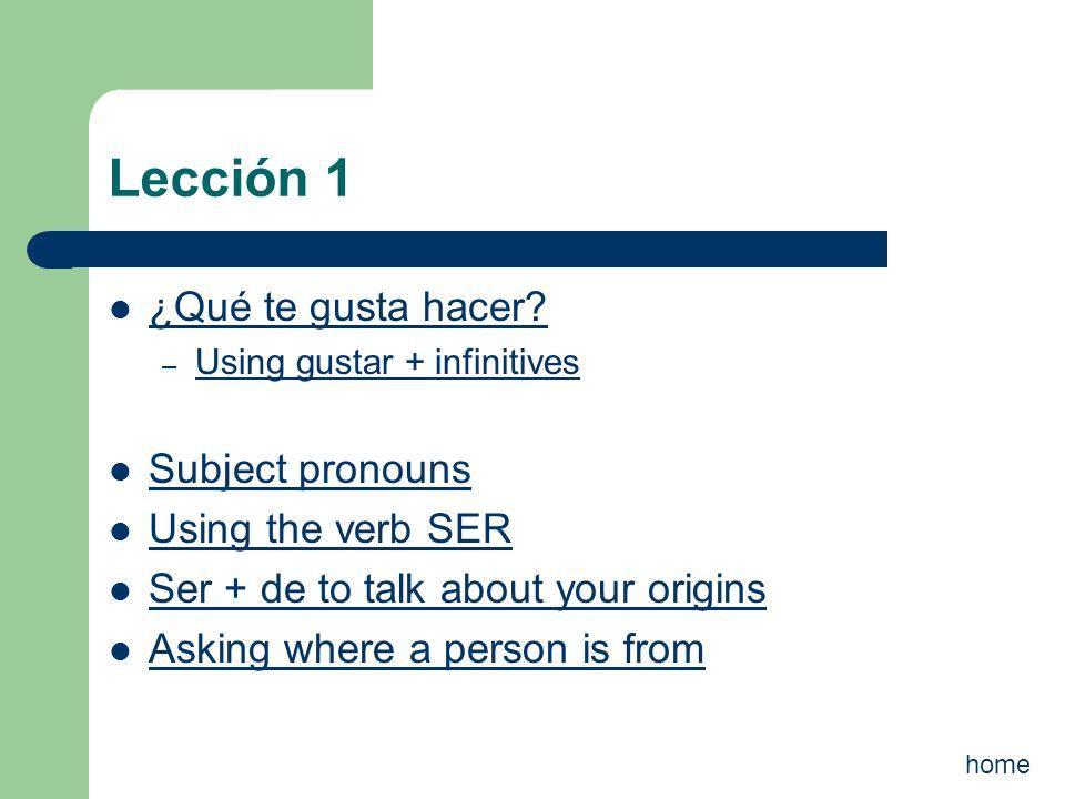 Lección 1 ¿Qué te gusta hacer Subject pronouns Using the verb SER