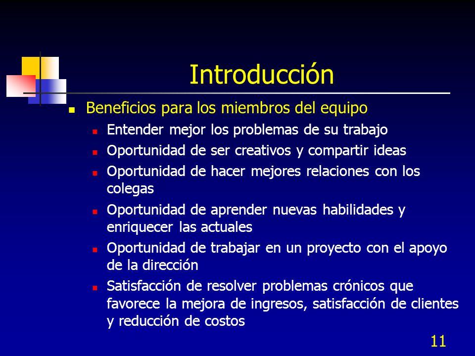 Introducción Beneficios para los miembros del equipo