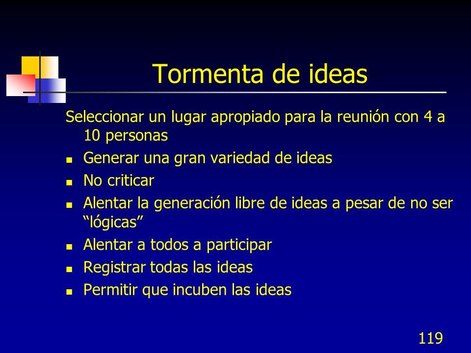 Tormenta de ideas Seleccionar un lugar apropiado para la reunión con 4 a 10 personas. Generar una gran variedad de ideas.
