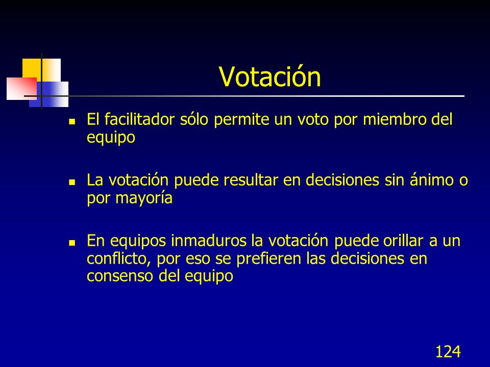 Votación El facilitador sólo permite un voto por miembro del equipo