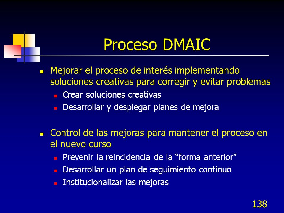 Proceso DMAIC Mejorar el proceso de interés implementando soluciones creativas para corregir y evitar problemas.