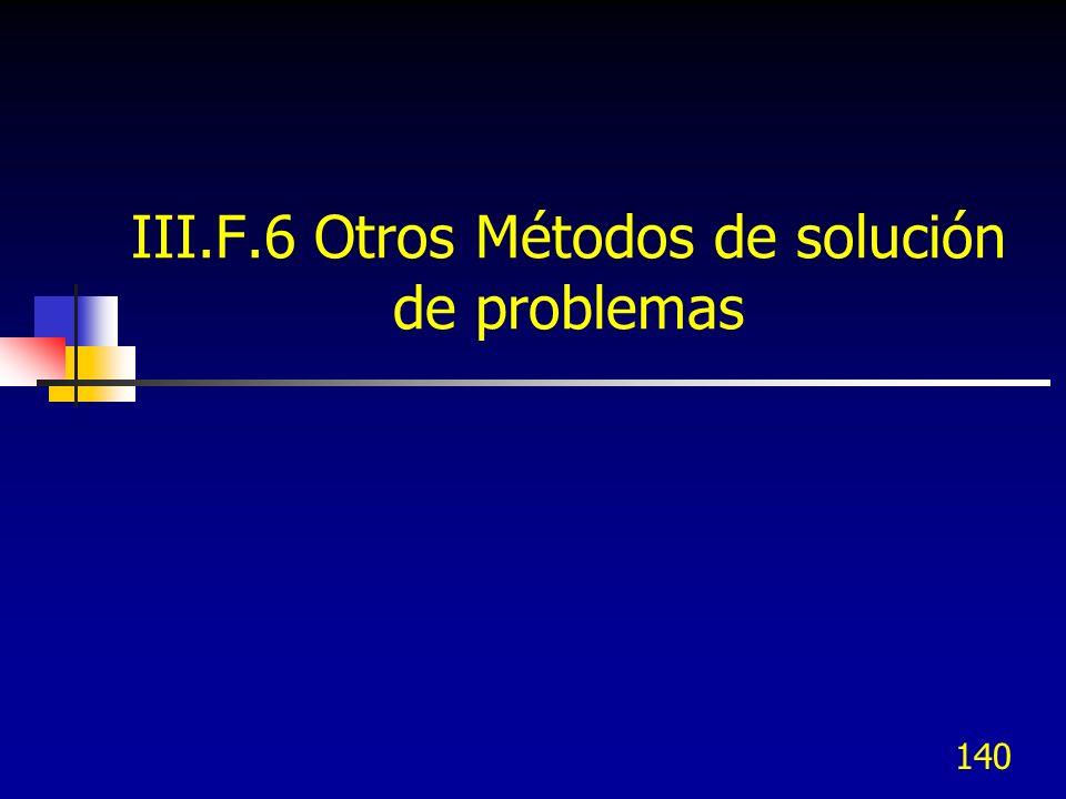 III.F.6 Otros Métodos de solución de problemas