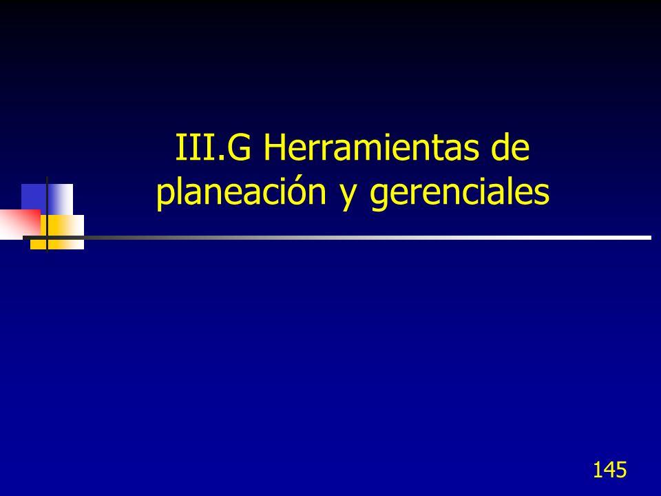 III.G Herramientas de planeación y gerenciales