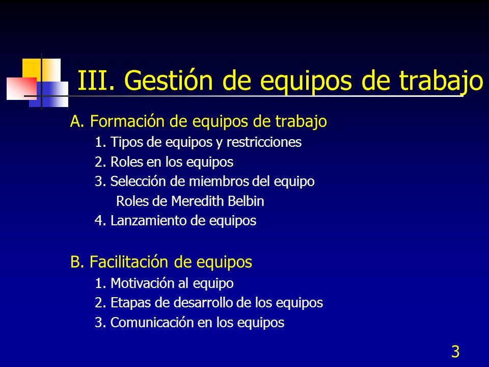 III. Gestión de equipos de trabajo