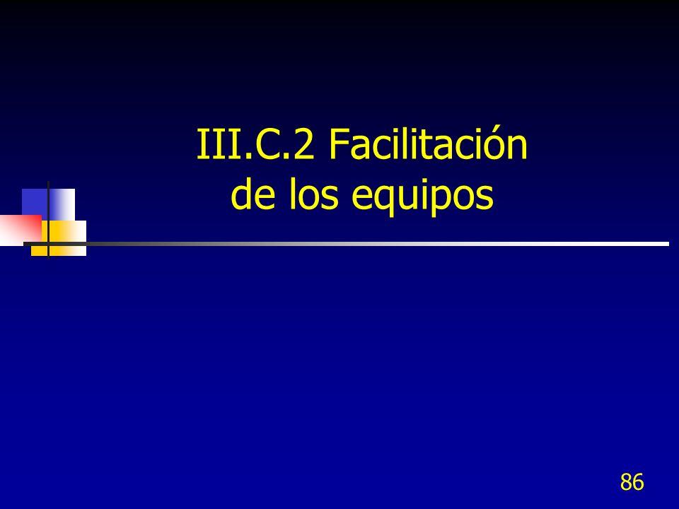 III.C.2 Facilitación de los equipos