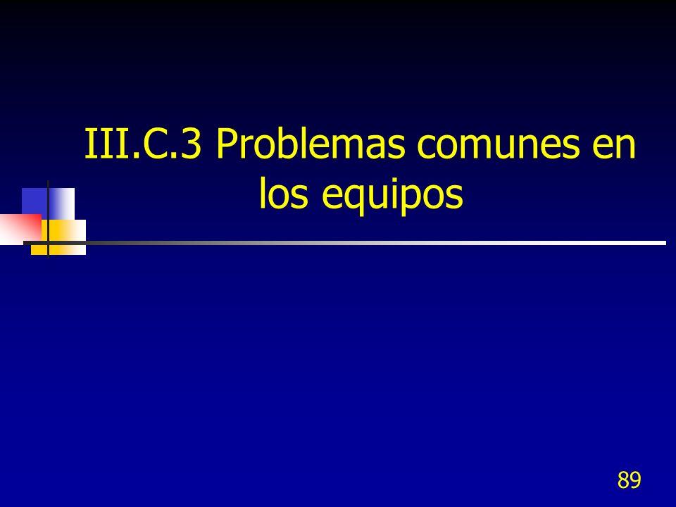 III.C.3 Problemas comunes en los equipos