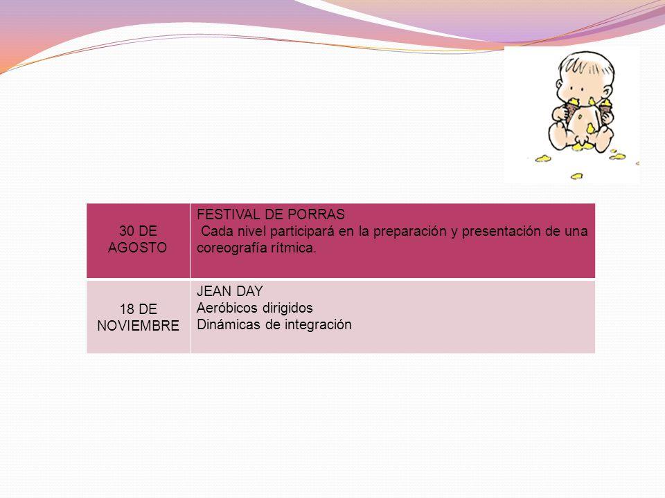 30 DE AGOSTO FESTIVAL DE PORRAS. Cada nivel participará en la preparación y presentación de una coreografía rítmica.