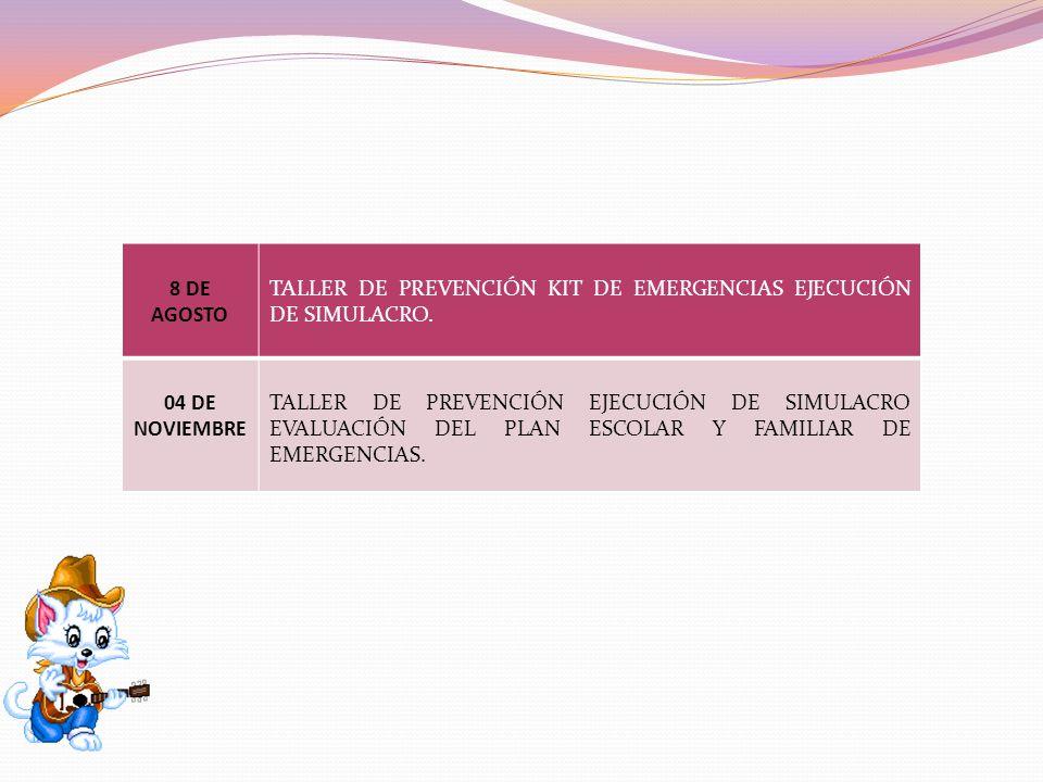 8 DE AGOSTO TALLER DE PREVENCIÓN KIT DE EMERGENCIAS EJECUCIÓN DE SIMULACRO. 04 DE NOVIEMBRE.