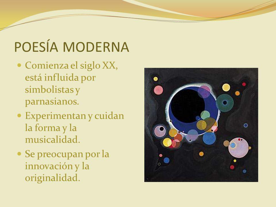 POESÍA MODERNA Comienza el siglo XX, está influida por simbolistas y parnasianos. Experimentan y cuidan la forma y la musicalidad.