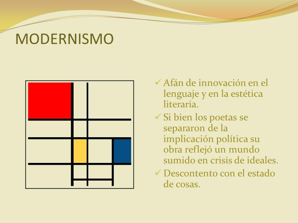 MODERNISMO Afán de innovación en el lenguaje y en la estética literaria.
