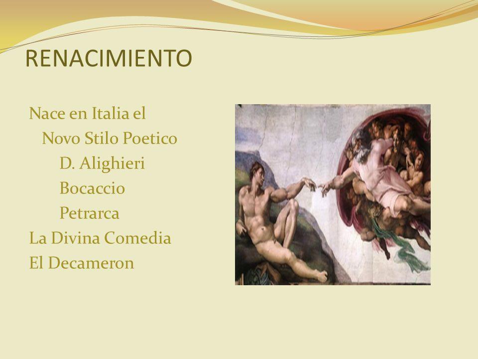 RENACIMIENTO Nace en Italia el Novo Stilo Poetico D.