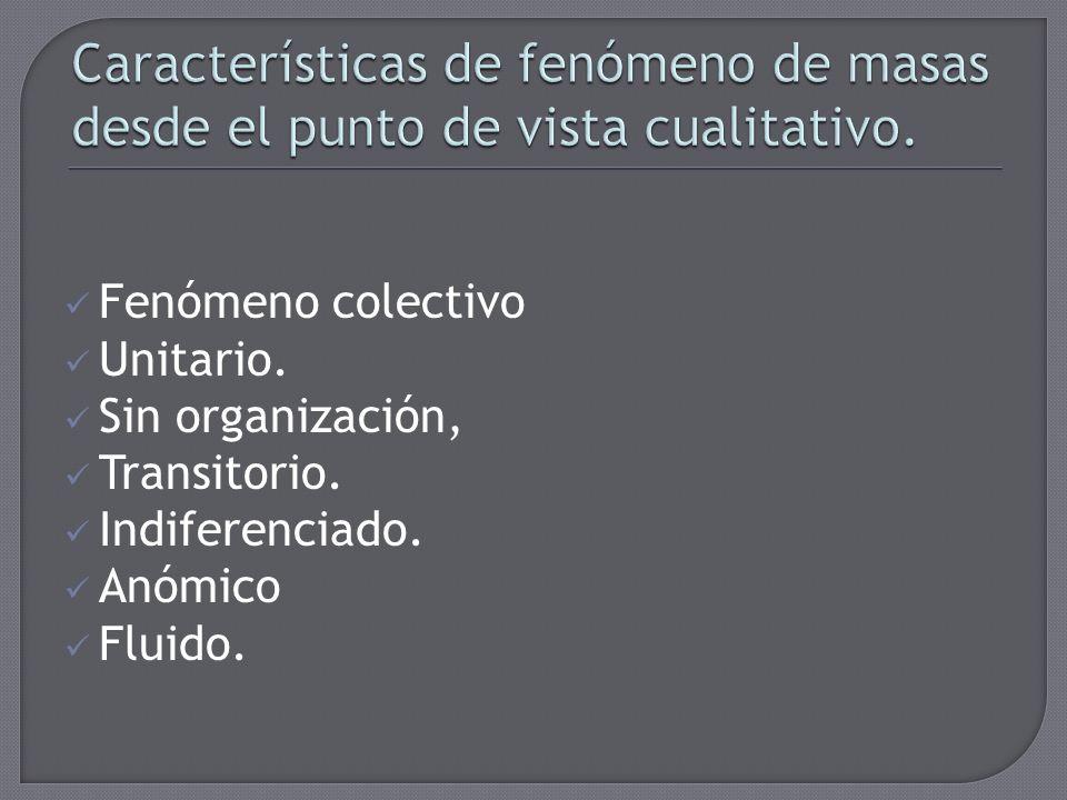 Características de fenómeno de masas desde el punto de vista cualitativo.