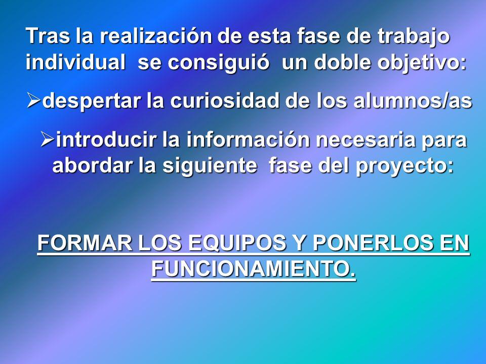 FORMAR LOS EQUIPOS Y PONERLOS EN FUNCIONAMIENTO.