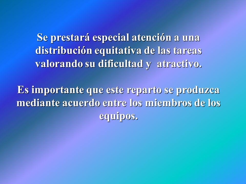 Se prestará especial atención a una distribución equitativa de las tareas valorando su dificultad y atractivo.