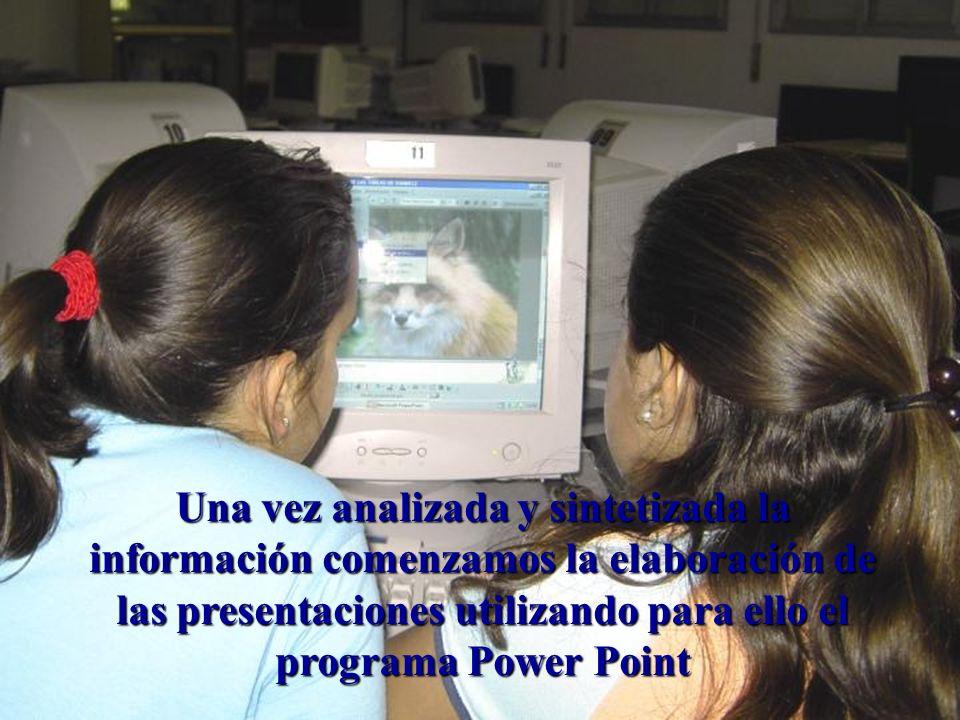 Una vez analizada y sintetizada la información comenzamos la elaboración de las presentaciones utilizando para ello el programa Power Point